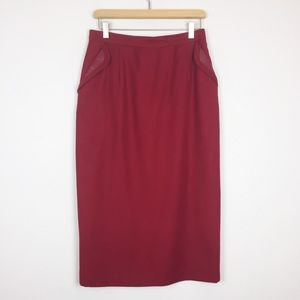 Vintage red pencil skirt midi wool with leather